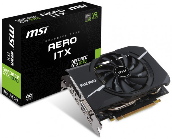MSI, GeForce GTX 1070 AERO ITX 8G OC, GTX 1060 AERO ITX 6G OC, GTX 1060 AERO ITX 3G OC