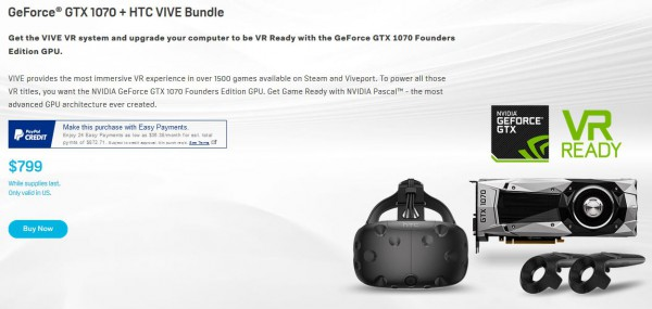 GeForce GTX 1070 + HTC VIVE Bundle