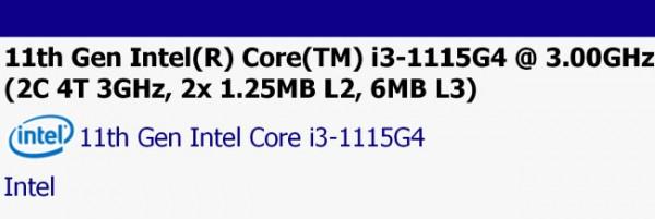 Intel, Tiger Lake, Core i3-1115G4