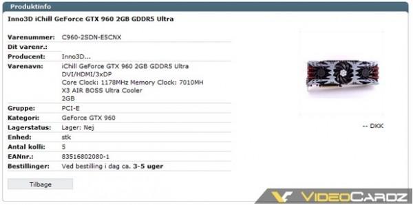 Inno3D iChill GeForce GTX 960 2GB GDDR5 Ultra (C960-2SDN-E5CNX)