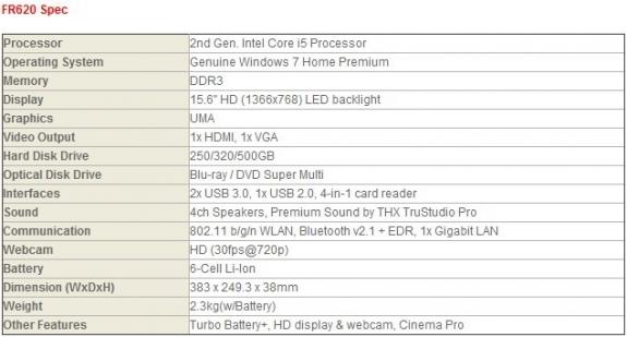 Спецификация ноутбука MSI FR620