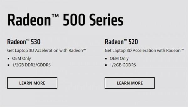 Radeon 530, Radeon 520