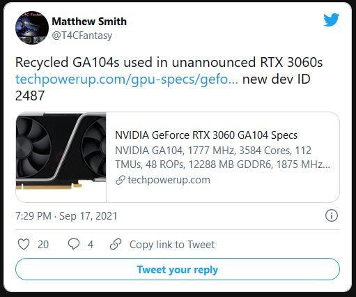 NVIDIA GeForce RTX 3060 GA104