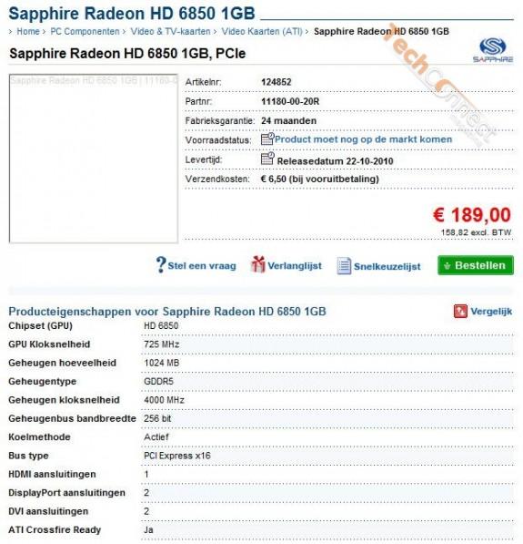 Лот видеокарты Sapphire Radeon HD 6850