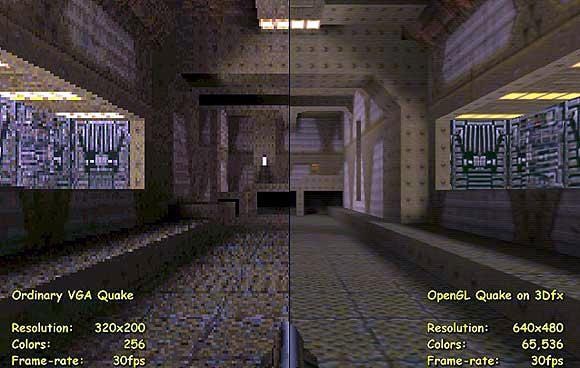 Quake без 3Dfx Glide и с 3Dfx Glide